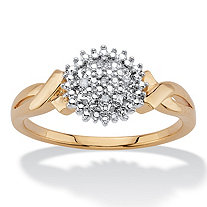 Diamond Accent Round Two-Tone 14k Gold-Plated Cluster Crossover Ring