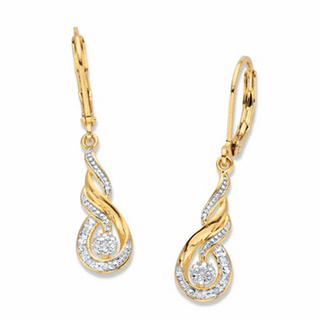"Diamond Accent Round Two-Tone 14k Gold-Plated Journey Cluster Drop Earrings .75"" at PalmBeach Jewelry"