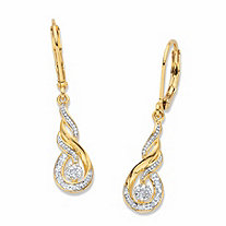Diamond Accent Round Two-Tone 14k Gold-Plated Journey Cluster Drop Earrings .75