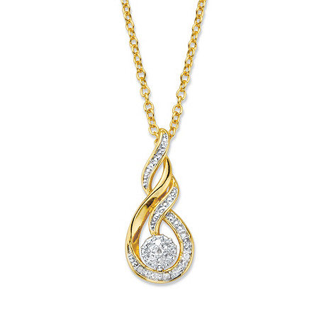 """Diamond Accent Round Two-Tone 14k Gold-Plated Journey Cluster Pendant Necklace 18""""-20"""" at PalmBeach Jewelry"""