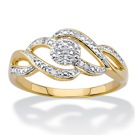 Diamond Accent Round Two-Tone 14k Gold-Plated Journey Cluster Ring at PalmBeach Jewelry