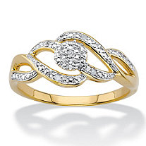 Diamond Accent Round Two-Tone 14k Gold-Plated Journey Cluster Ring