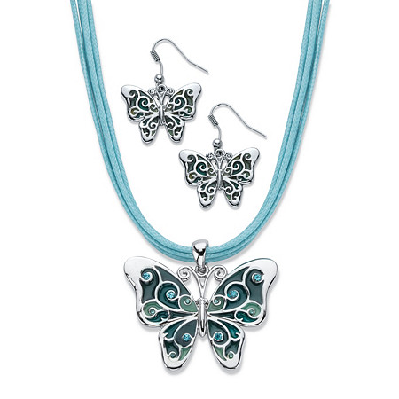 "Blue Crystal and Enamel Silvertone 2-Piece Drop Earring and Pendant Necklace Set with Blue Leather Cord 16.5""-18.5"" at PalmBeach Jewelry"