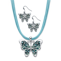 Blue Crystal And Enamel Silvertone 2-Piece Drop Earring And Pendant Necklace Set