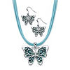 Related Item Blue Crystal and Enamel Silvertone 2-Piece Drop Earring and Pendant Necklace Set with Blue Leather Cord 16.5