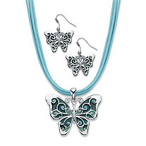 "Blue Crystal and Enamel Silvertone 2-Piece Drop Earring and Pendant Necklace Set with Blue Leather Cord 16.5""-18.5"""