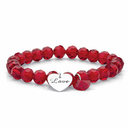 """Red Beaded Crystal Love Inscribed Heart Charm Stretch Bracelet in Silvertone 8"""" at PalmBeach Jewelry"""