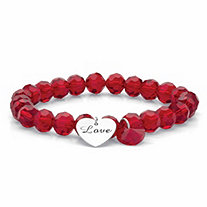 Red Beaded Crystal Love Inscribed Heart Charm Stretch Bracelet in Silvertone 8""