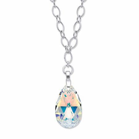 "Pear-Cut Aurora Borealis Crystal Diamond-Cut Rolo-Link Pendant Necklace in Silvertone 28"" at PalmBeach Jewelry"