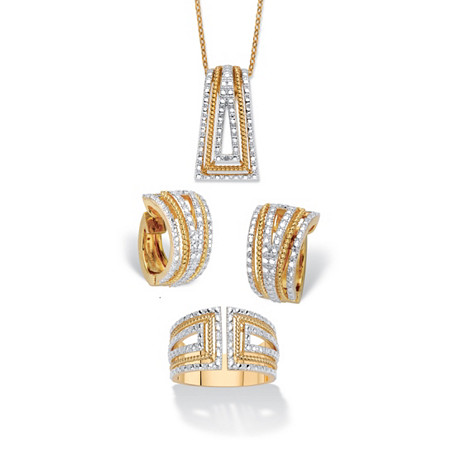 """Diamond Accent Two-Tone 18k Gold-Plated Art Deco-Style 3-Piece Earring, Ring and Necklace Set 18"""" at PalmBeach Jewelry"""