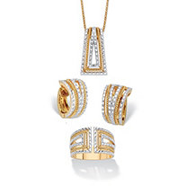 Diamond Accent Two-Tone 18k Gold-Plated Art Deco-Style 3-Piece Earring, Ring and Necklace Set 18""