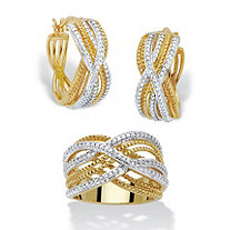 Diamond Accent Two-Tone 2-Piece Braided Hoop Earring and Ring Set 7/8""