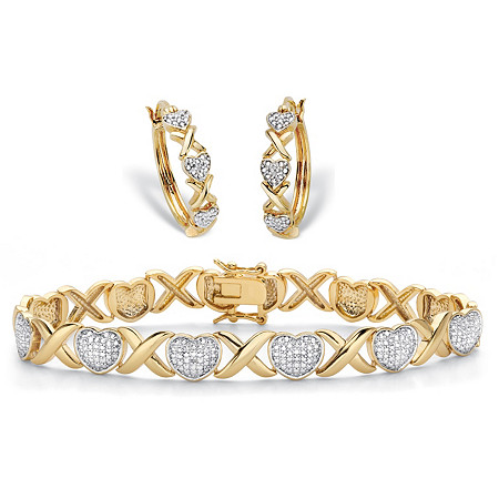 "Diamond Accent Two-Tone 14k Gold-Plated Hearts and Kisses 2-Piece ""X&O"" Hoop Earring and Bracelet Set 7"" at PalmBeach Jewelry"