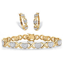 "Diamond Accent Two-Tone 14k Gold-Plated Hearts and Kisses 2-Piece ""X&O"" Hoop Earring and Bracelet Set 7"""