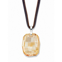 Faceted Champagne Crystal Pendant Necklace with Brown Leather Cord in Silvertone 32-34