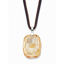 "Faceted Champagne Crystal Pendant Necklace with Brown Leather Cord in Silvertone 32""-34"""
