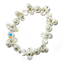 Round Aurora Borealis Crystal and Simulated Pearl Stretch Bracelet 7
