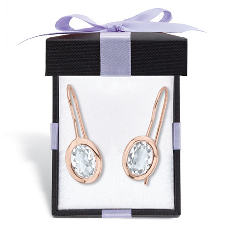 Oval-Cut Bezel-Set Crystal Drop Earrings 14k Rose Gold-Plated at PalmBeach Jewelry