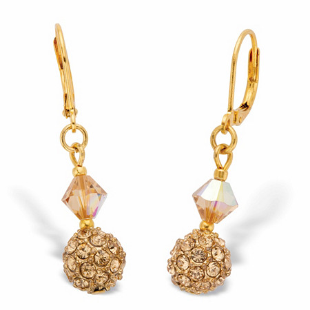 """Champagne Crystal Beaded Lever Back Drop Earrings in Goldtone 1 1/3"""" at PalmBeach Jewelry"""