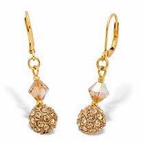 "Champagne Crystal Beaded Lever Back Drop Earrings in Goldtone 1 1/3"""