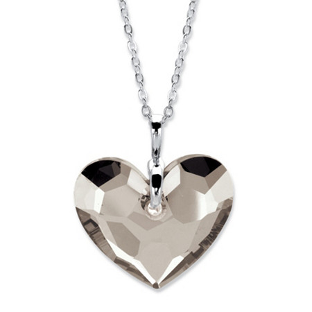 """Heart-Shaped Crystal Pendant Necklace MADE WITH SWAROVSKI ELEMENTS in Silvertone 18""""-21"""" at PalmBeach Jewelry"""