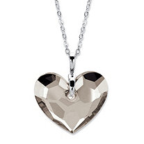 Heart-Shaped Crystal Pendant Necklace MADE WITH SWAROVSKI ELEMENTS in Silvertone 18