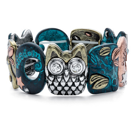 "Inspirational Crystal Multi-Tone Owl Stretch Bracelet in Gold Tone, Blue Ion-Plated, Silvertone and Rose Tone 7"" at PalmBeach Jewelry"