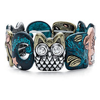 Inspirational Crystal Multi-Tone Owl Stretch Bracelet in Gold Tone, Blue Ion-Plated, Silvertone and Rose Tone 7""