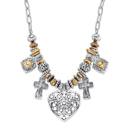 Two-Tone Heart and Charm Beaded Rolo-Link Necklace in Antiqued Gold Tone and Silvertone 20