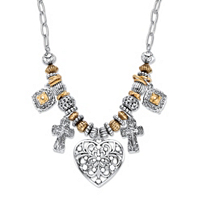 Two-Tone Heart And Charm Beaded Rolo-Link Necklace ONLY $8.93