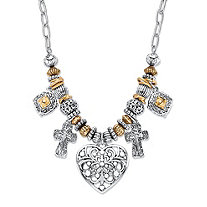 Two-Tone Heart and Charm Beaded Rolo-Link Necklace in Antiqued Gold Tone and Silvertone 20""