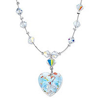 SETA JEWELRY Aurora Borealis Crystal Silvertone Beaded Heart-Shaped Pendant Necklace Made With Swarovski Elements 16