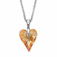 Champagne Heart-Shaped Crystal Pendant Necklace in Silvertone 16-18