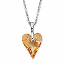 SETA JEWELRY Champagne Heart-Shaped Crystal Pendant Necklace in Silvertone 16