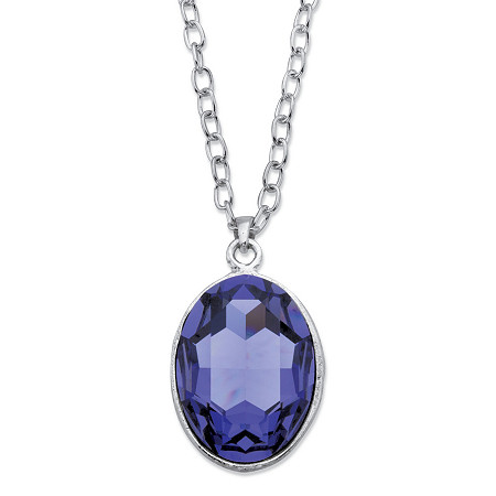 """Oval-Cut Faceted Bezel-Set Crystal Pendant Necklace MADE WITH SWAROVSKI ELEMENTS in Silvertone 17""""-19"""" at PalmBeach Jewelry"""