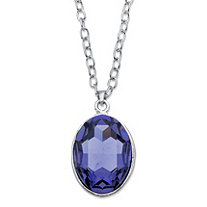"Oval-Cut Faceted Bezel-Set Crystal Pendant Necklace MADE WITH SWAROVSKI ELEMENTS in Silvertone 17""-19"""