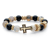 Black and Grey Beaded Horizontal Cross Stretch Bracelet in Antiqued Gold Tone 7""