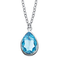 Faceted Pear-Cut Blue Crystal Pendant Necklace MADE WITH SWAROVSKI ELEMENTS in Silvertone 17
