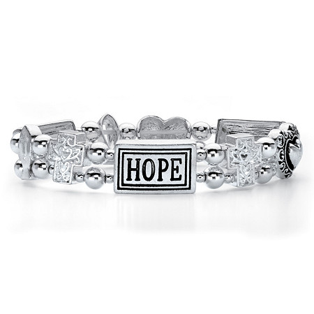 "Inspirational Beaded ""HOPE"" Stretch Bracelet in Antiqued Silvertone 7"" at PalmBeach Jewelry"