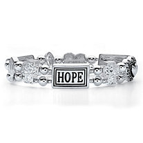 "Inspirational Beaded ""HOPE"" Stretch Bracelet in Antiqued Silvertone 7"""