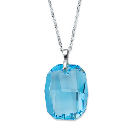 "Emerald-Cut Blue Crystal Pendant Necklace Made With Swarovski Elements in Silvertone 18""-21"" at PalmBeach Jewelry"