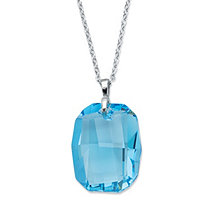 Emerald-Cut Blue Crystal Pendant Necklace Made With Swarovski Elements in Silvertone 18