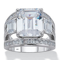 Emerald-Cut Cubic Zirconia Engagement Ring 8.96 TCW in Platinum over Sterling Silver