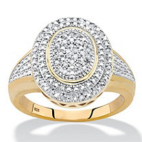 Diamond Two-Tone Double Halo Oval Cluster Cocktail Ring 1/5 TCW in 18k Gold over Sterling Silver