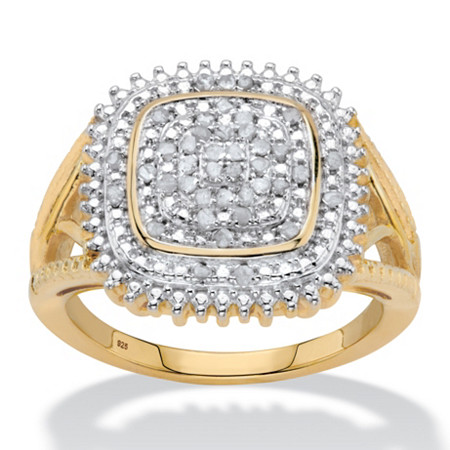 Diamond Two-Tone Squared Halo Cluster Engagement Ring in 18k Gold over Sterling Silver (1/5 cttw) at PalmBeach Jewelry
