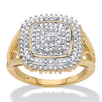 SETA JEWELRY Diamond Two-Tone Squared Halo Cluster Engagement Ring in 18k Gold over Sterling Silver (1/5 cttw)