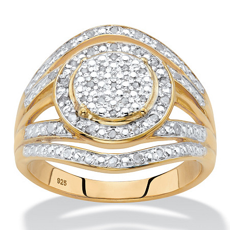 Round Diamond Two-Tone Halo Cluster Engagement Ring 1/5 TCW in 18k Gold over Sterling Silver at PalmBeach Jewelry