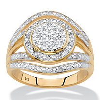 SETA JEWELRY Round Diamond Two-Tone Halo Cluster Engagement Ring 1/5 TCW in 18k Gold over Sterling Silver