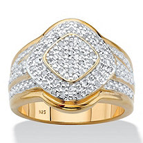 Round Diamond Two-Tone Halo Cluster Engagement Ring 1/5 TCW in 18k Gold over Sterling Silver