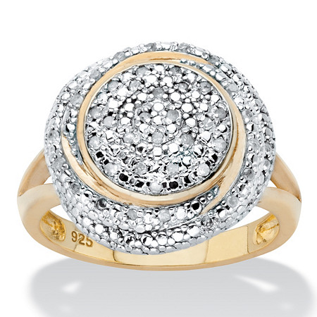 Round Diamond Two-Tone Cluster Swirl Engagement Ring 1/5 TCW in 18k Gold over Sterling Silver at PalmBeach Jewelry